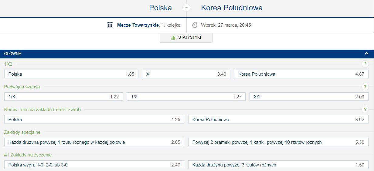 Typy na Polska Korea